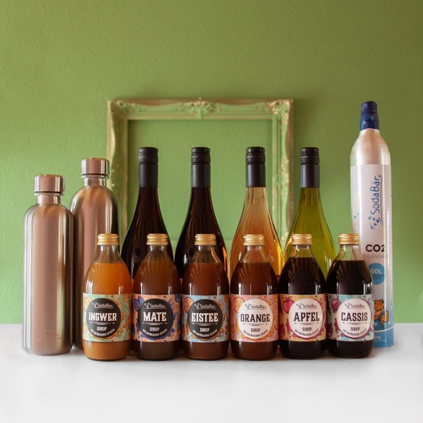 Geschenkset Zylinder/Wein/Sirup