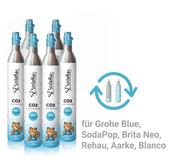 CO2-Zylinder Tausch-Box für Grohe Blue, Aarke, BritaNEO, SodaPop, 6 x 425g (60 l)